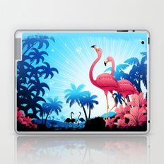 Pink Flamingos on Blue Tropical Landscape Laptop & iPad Skin