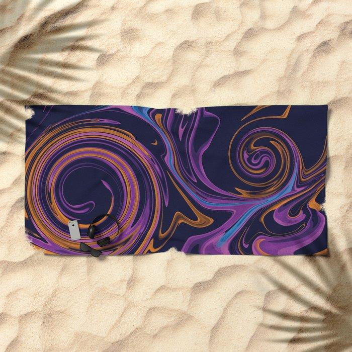 Purple Marble Swirls Beach Towel