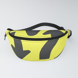"""""""Divided highway"""" - 3d illustration of yellow roadsign isolated on white background Fanny Pack"""