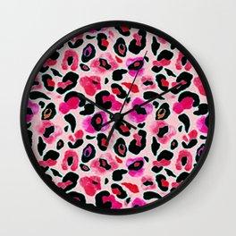 Pink Spot Leopard Animal Wildlife Pattern Print Wall Clock