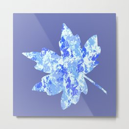 Blue and White Grunge Metal Print