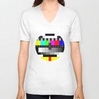 tv V-neck T-shirts featuring TV by Les Hameçons Cibles