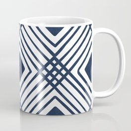 Criss Cross Diamond Pattern in Navy Blue Coffee Mug