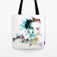 asia Tote Bags featuring Asia by J. Ekstrom