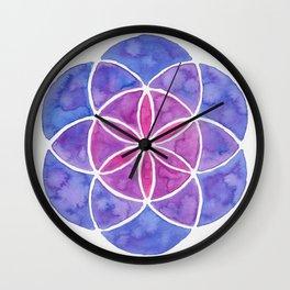 Watercolor Seed Of Life - Purple Tones Wall Clock