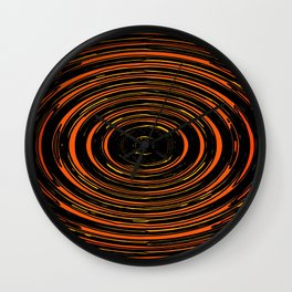 circle pattern abstract background in orange and black Wall Clock