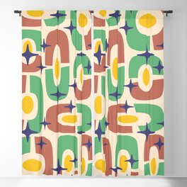 Mid Century Modern Cosmic Abstract 125 Brown Green Yellow and Blue Blackout Curtain