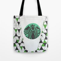 starbucks Tote Bags featuring Starbucks Mermaid  by Clawson Creatives