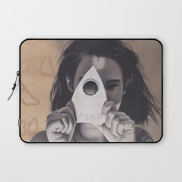 Realism Drawing of Beautiful Woman with Ouija Planchette Piece Laptop Sleeve