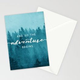 And So The Adventure Begins - Turquoise Forest Stationery Cards