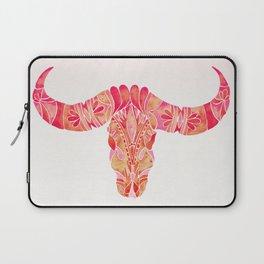 Water Buffalo Skull – Pink Ombré Laptop Sleeve