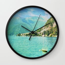Lago di garda in watercolor Wall Clock