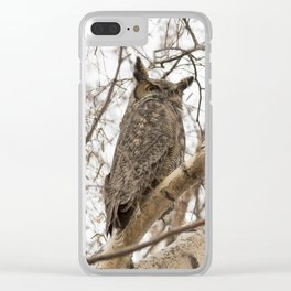 Great Horned Owl Pair Clear iPhone Case