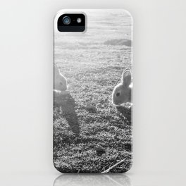 Bunny // Black and White Cute Nursery Photograph Adorable Baby Bunnies in the Field iPhone Case