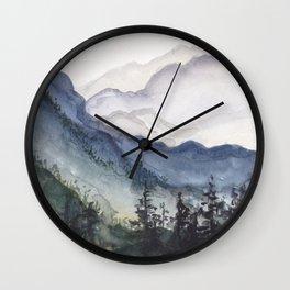 Mountains at Dawn Wall Clock