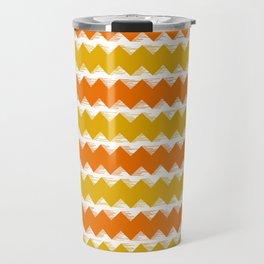 Gold and Orange Sawtooth Pattern Travel Mug