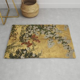 White Red Chrysanthemums Floral Japanese Gold Screen Rug