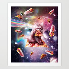Outer Space Pizza Cat - Rainbow Laser, Taco, Burrito Art Print