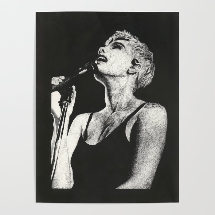 Halsey black and white scratchboard poster