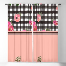 Gingham+Floral II Blackout Curtain