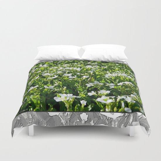 WHITE FLOWERS OF ARABIS Duvet Cover