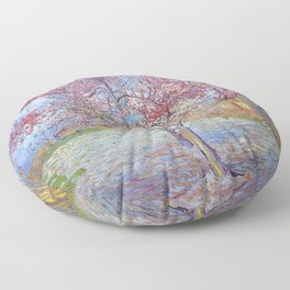 Pink Peach Tree in Blossom by Vincent van Gogh Floor Pillow