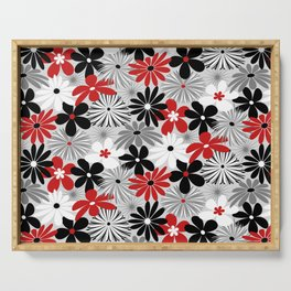 Funky Flowers in Red, Gray, Black and White Serving Tray