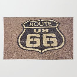Historic old Route 66 sign. US 66. Rug
