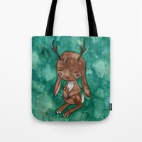 jackalope Tote Bags featuring Jackalope by FawnLorn