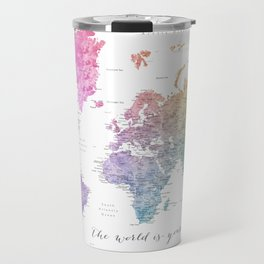The world is your oyster world map Travel Mug