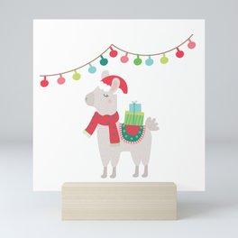 Christmas llamas V Mini Art Print