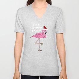 Christmas Have a Flamazing Christmas Flamingo Unisex V-Neck