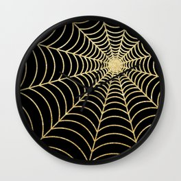 Spiderweb | Gold Glitter Wall Clock