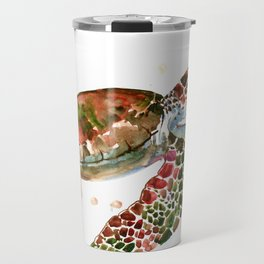 Sea Turtle, Brown, Olive green Pink Shades Travel Mug