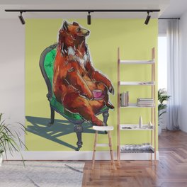animals in chairs #20 The Bear at Tea Wall Mural