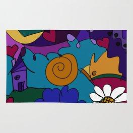 """Before the Celebration"" bold, colorful doodle art Rug"