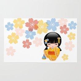 Japanese Summer Kokeshi Doll Rug