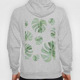 Tropical green leaves on white Hoody