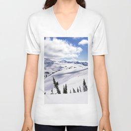 Skiingscape of mountainscape Unisex V-Neck