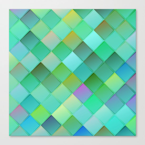 Green pattern with squares.Trendy print. Modern graphic design. Canvas Print