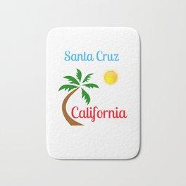 Santa Cruz California Palm Tree and Sun Bath Mat