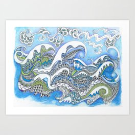Cresting Waves Art Print