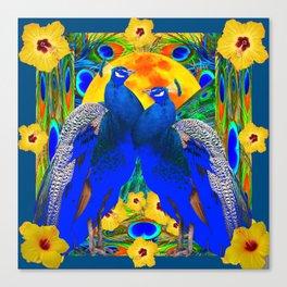 TEAL YELLOW HIBISCUS & BLUE PEACOCKS ART Canvas Print