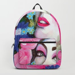 Rose face beautiful lady watercolour painting Backpack