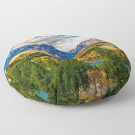 Snake River and Grand Tetons in Winter Floor Pillow