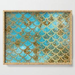 Aqua Teal & Gold Glitter MermaidScales - Mermaid Scales And Sea Foam Serving Tray