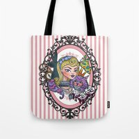alice wonderland Tote Bags featuring Wonderland  by Tarryn Ann Art