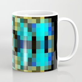 geometric square pixel abstract in blue and yellow with black background Coffee Mug