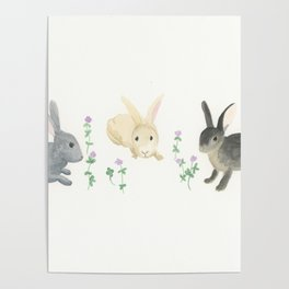 Bunnies and Purple Clover Poster