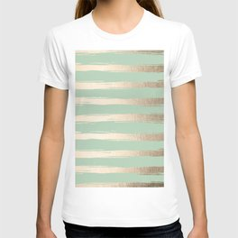 Simply Brushed Stripes White Gold Sands on Pastel Cactus Green T-shirt